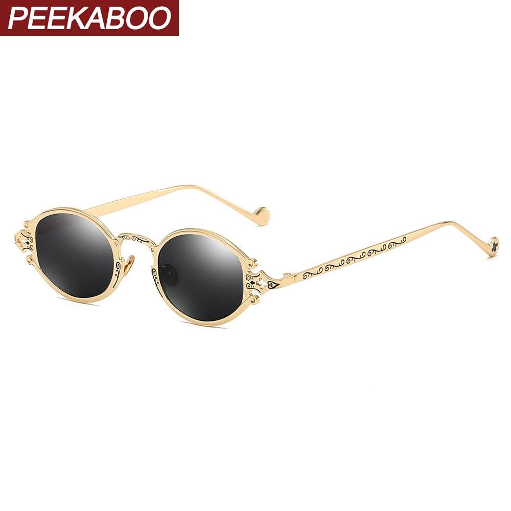 Honest Peekaboo Mens Oval Sunglasses Men 2019 Punk Style Red Women Sun Glasses Retro Round Gold Black Metal Frame High Quality Uv400