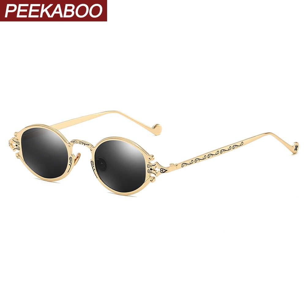 bd4c52a05d45 Peekaboo mens oval sunglasses men 2019 punk style red women sun glasses  retro round gold black