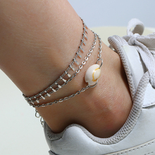 L&H 2PCS/Set Shell Double Layer Anklets For Women Fashion Simple Silver Color Ankle Bracelets Beach Vacation Female Chain