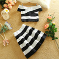 Summer Two Piece Set Women Sexy Crop Top and Skirt Party Stripe Cropped Top Women Sweet Clothing Set Bodycon Pleated Skirt