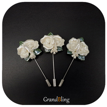 Double White Roses Ceramic Lapel Pins for Coat New Fashion Hand-made Accessories