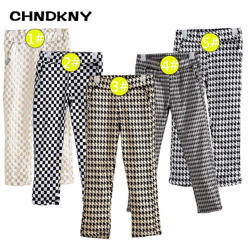 ChildDkivy Girls Houndstooth Warm legginsy 2018 nowa jesienno-zimowa Skinny Straight Kids legginsy modne spodnie w pasie