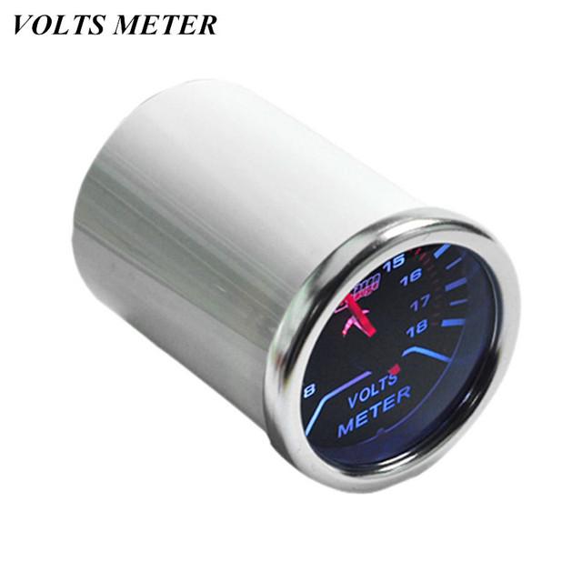 """EE apoio Branco Shell Ponteiro 2 """"52mm Carro Voltímetro Relógio Automóvel Universal Fumaça Len LED Volt Medidor de Tensão calibre XY01"""