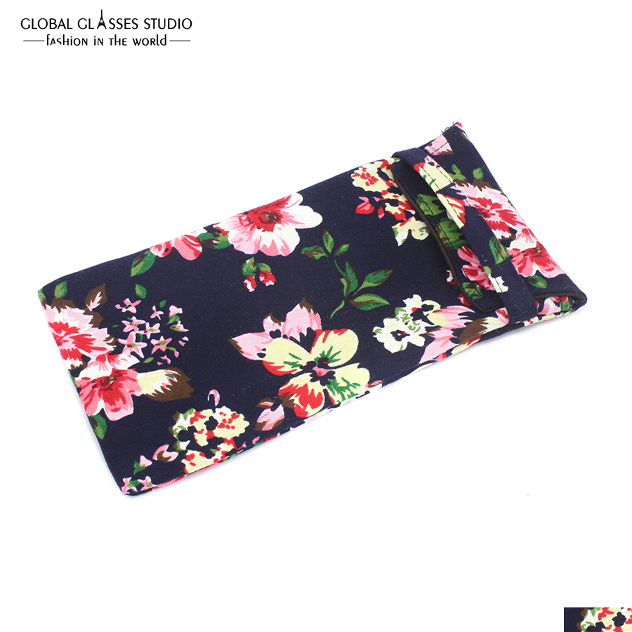 New Hot Selling Soft Cloth Bag Sunglasses Glasses Pouches Black Pink Flower Eyewear Accessories mobile phone Bag BDH04