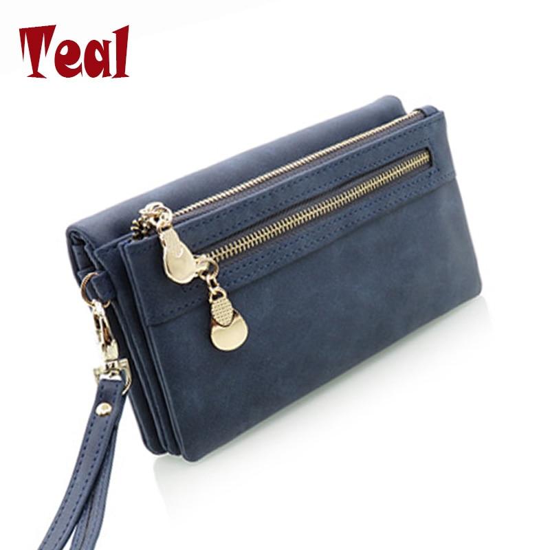 Fashion women long pu leather wallet female double zipper clutch coin purse...