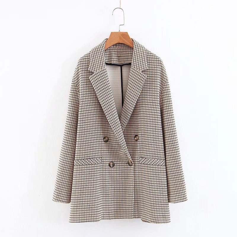 Woman 2019 Autumn New Work Blazers Notched Neck Back Slit Pocket Double Breasted Outerwear Casual Plaid Coat