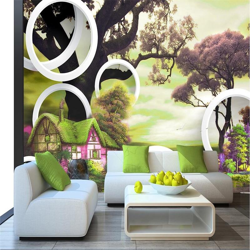 beibehang papel de parede Custom Photo Wallpaper Mural Wall Sticker European Village 3D Circle Tree Decoration Background Wall