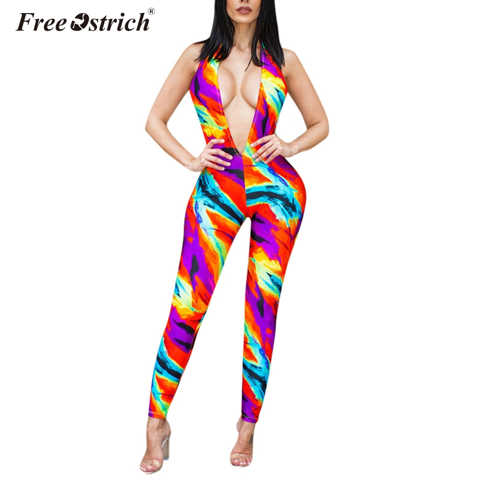 Jumpsuit women summer rompers womens sexy backless indie fork printed halter strapless pencil pants jumpsuit n30