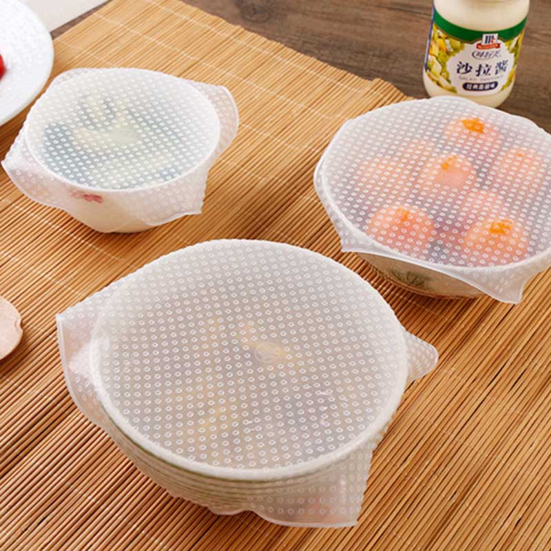 Silicone Seal Cover Transparent Refrigerator Wrap Food Grade Bowl Microwave Heating Lid Stretch Fresh Cover Kitchen Tools