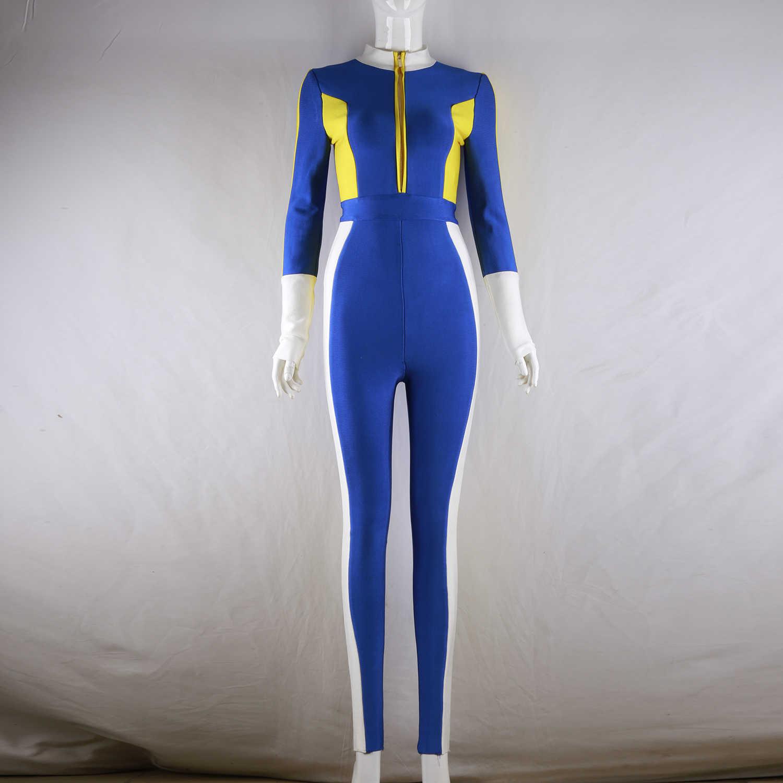 MEQEISS новые летние женские Комбинезоны на молнии с повязкой jumpuit Сексуальные облегающие шикарные вечерние костюмы знаменитостей синий комбинезон Vestidos оптовая продажа