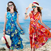 Floral Print Halter Chiffon Long Dress Women 2017 Maxi Dresses Vestidos Sexy Split Beach Summer Dresses