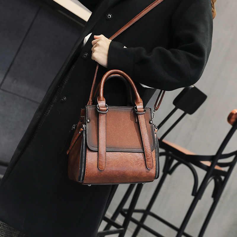 2019 Parte Superior Das Senhoras-Bolsas de Couro Do Vintage Sacos de Mulheres Mensageiro Totes Crossbody Designer Fosco bolsa de Ombro Bolsa Feminina Bolsas Casuais
