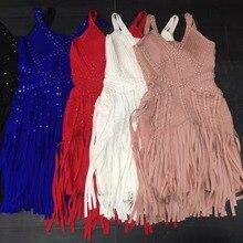 Синий, черный, красный, белый, хаки, с бисером, v-образный вырез, без спинки, с кисточками, без рукавов, из вискозы, Бандажное платье, летнее, женское,, вечернее платье