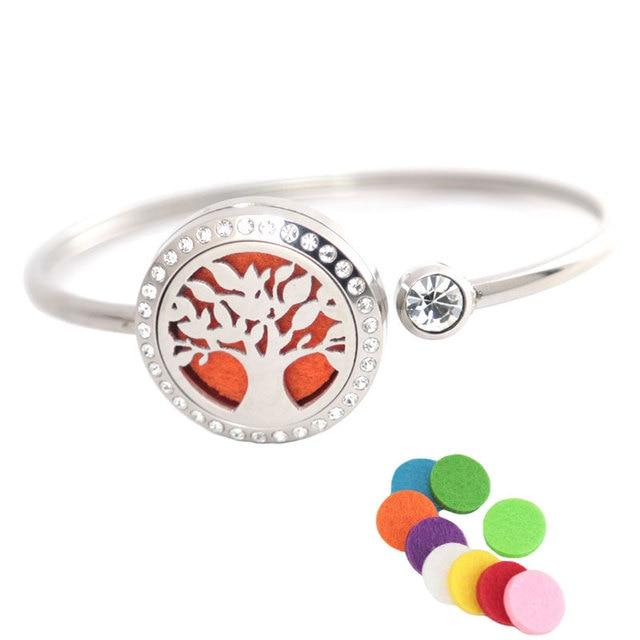25mm magnes kryształ ze stali nierdzewnej aromaterapia bransoletka z medalionem bransoletka OLEJEK ETERYCZNY dyfuzor medalion wielkie drzewo bransoletka