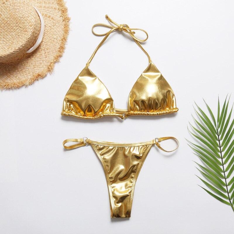 Summer Sexy Women Gold Micro Triangle Bikini Sets Women Bright Bronzing Lace Up Swimsuits Beach Bathing Suits Thong Bikini