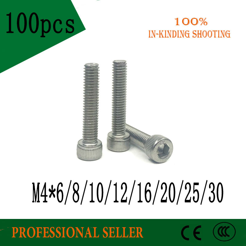 100pcs machine Fastener <font><b>M4</b></font>*6/8/10/12/14/16/18/20/25/<font><b>30</b></font> mm Hex Socket Head Screw Bolt <font><b>M4</b></font> Stainless Steel hexagon Screws image