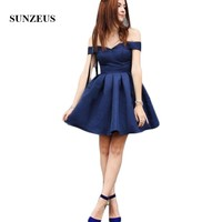 Navy Blue Satin Homecoming Dresses Sweetheart Off the Shoulder Short Cocktail Party Dresses Short robe satin courte SHD14