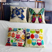 Cute Cartoon Linen Cushion Cover Owl Printed Car Seat Home Decorative Pillowcase Butterfly Animal