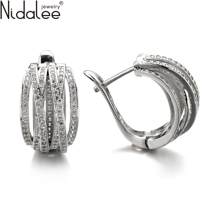 Nidalee 2016 New Exaggerated Ear clip New Earrings For Women Fashion Top Zircon Earrings Weddings Party