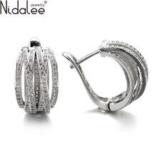 Nidalee 2016 nueva exagerada clip de oreja nuevos pendientes para las mujeres top de la moda de circón pendientes bodas party pendientes joyería e2174