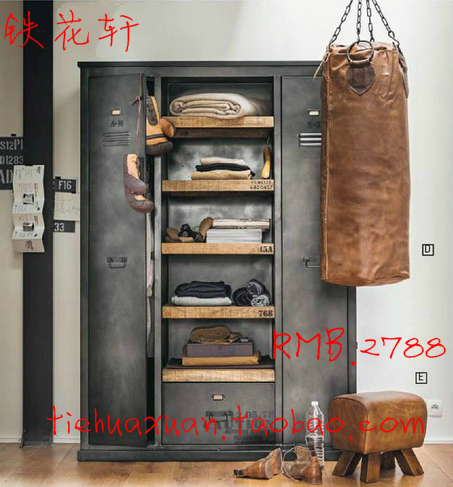 American Vintage Industrial Metal Wardrobe Cabinets Wardrobe LOFT Style  Retro Metal Cargo Storage Lockers With Door