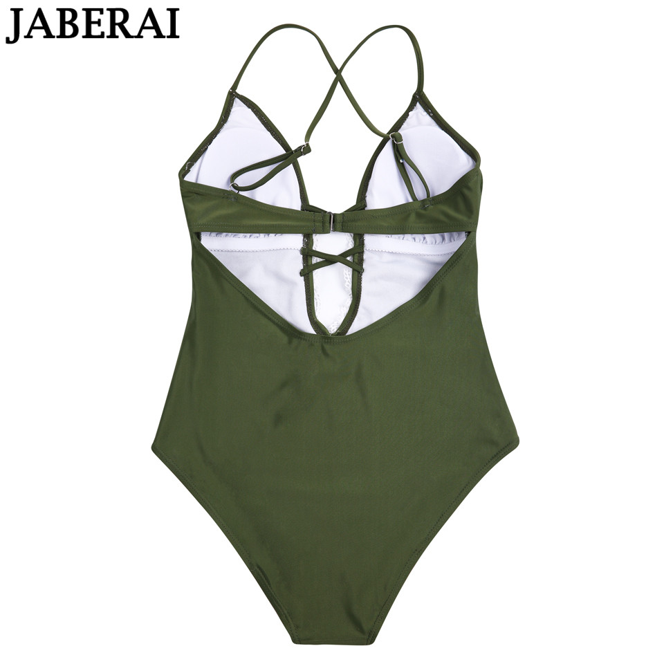 30dd0d2ba5 JABERAI One Piece Swimsuit 2019 Monokini Backless Swimwear Women Push Up  Biquini Halter Beachwear Strappy Bathing Suit -in Body Suits from Sports ...