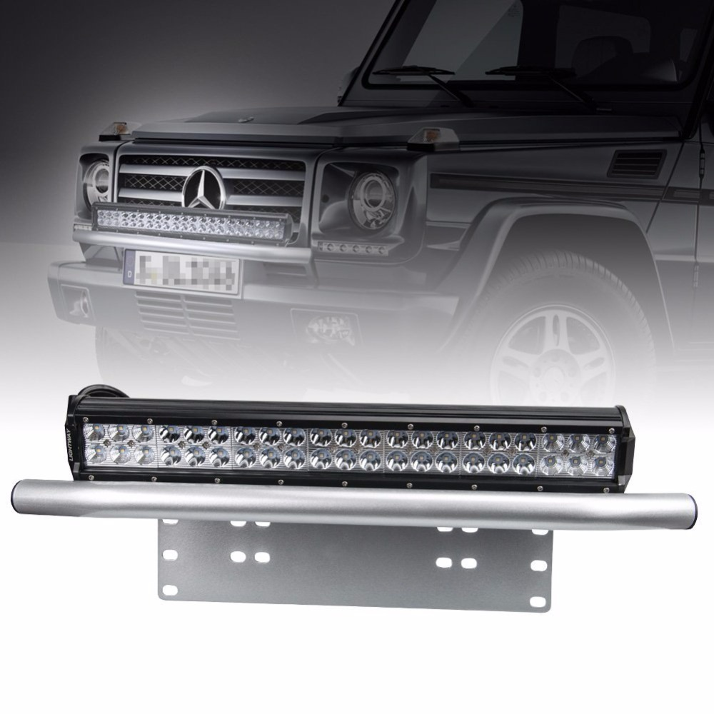Silver black offroad light led light bar autos bull bar front silver black offroad light led light bar autos bull bar front bumper license plate mount headlight bracket holder for jeep in car light accessories from mozeypictures Gallery