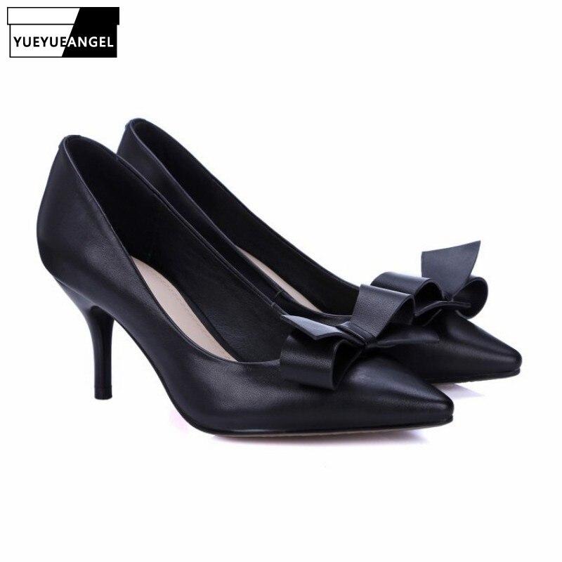 En Glissement Les 2019 Chaussures Habillées Haute Bureau Dames Pompes Parti Femmes Élégantes Mince Bowknot Black Véritable Doux Nouveau Cuir Sur pink Travail beige waA8q