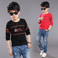 2016 Autumn new children's clothing T-shirt boy block letters round neck long-sleeved Tee