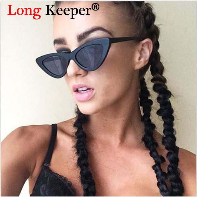 f28b0bf783 Long Keeper Triangle Small Cat Eye Sunglasses For Women UV400 2017 New  Fashion Ladies Eyewear Men