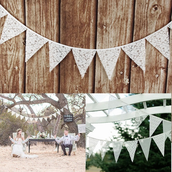 Cotton Fabric Bunting 3.2M 12Flags Pennant Banners for Party Birthday Baby Shower Decoration Wedding Party Supplies