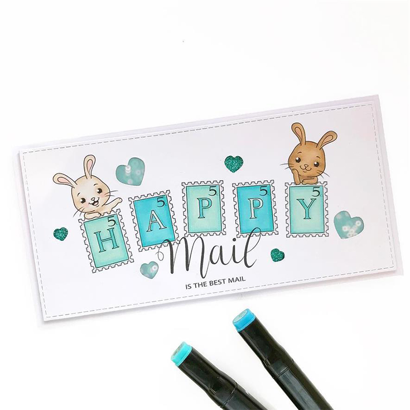 JC Rubber Stamps and Metal Cutting Dies for Scrapbooking Craft Die Cut Rabbit Happy Mail Stamp Card Making Stencil Album Decor in Cutting Dies from Home Garden