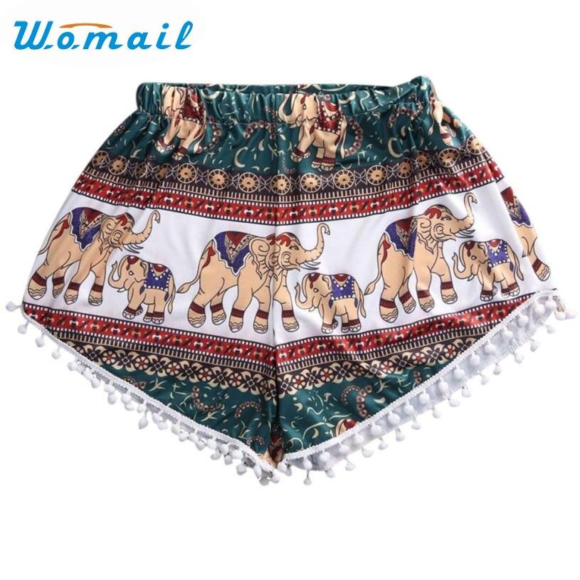 Womail Shorts Tassels High-Waist Women Printed Sexy Newly-Design Summer Lady Hot 160413