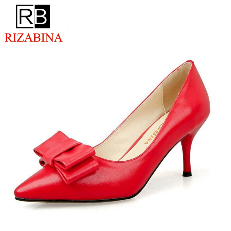 RizaBina Size 33-40 Ladies Real Leather Thin High Heels Pumps Women Sexy Pointed Toe Slip On Shoes Women Handmade Party Footwear size 32 43 women s high heel shoes women slip on pointed toe pumps elegant thin heels ladies sexy party weddding soft shoes