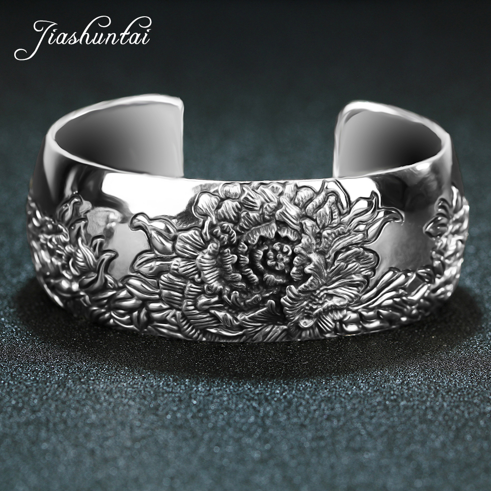 JIASHUNTAI Retro 925 Sterling Silver Bangles For Women Lotus Flower Vintage Silver Fine Jewelry Female