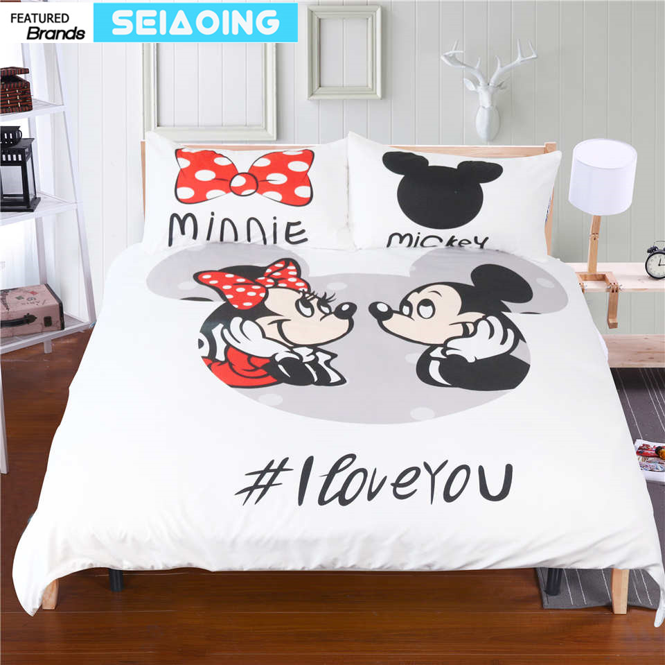 Mickey Minnie Mouse Bedding Sets 3pc Cartoon Comforter