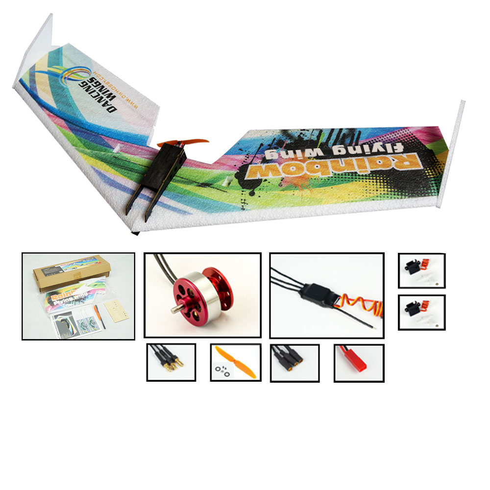 E0511 Rainbow Flying Wing V2 RC Airplane Dron 800mm Wingspan Delta Wing Tail-pusher RC Aircraft KIT RC Toys
