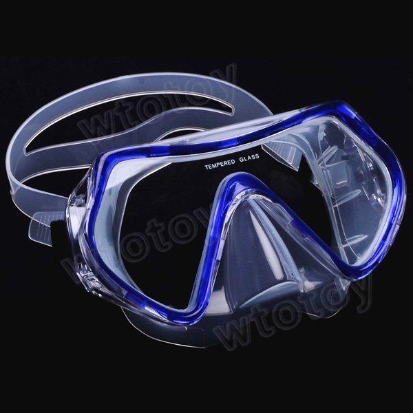 Scuba Diving Snorkeling Silicone Mask Set (Blue)