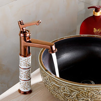 Free shipping Luxury top body rose gold basin sink mixer tap with single handle solid brass golden faucet of hot cold basin tap