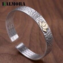 Balmora Solid 990 Puur Zilver Lotus Hart Sutra Boeddhisme Armbanden Voor Vrouwen Moeder Vintage Sieraden Accessoires Esposas WBH0241
