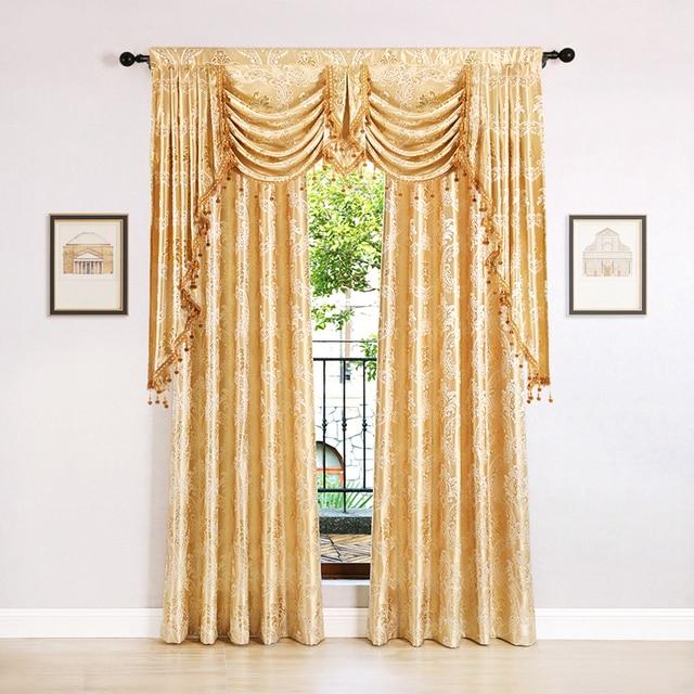 European Golden Royal Luxury Curtains for Bedroom Window Curtains for Living Room Curtains Drapes(Grommet Top,1 Piece) Decoration