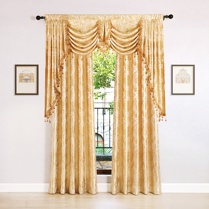 European Golden Royal Luxury Curtains for Bedroom Window Curtains for Living Room Curtains Drapes(Grommet Top,1 Piece)