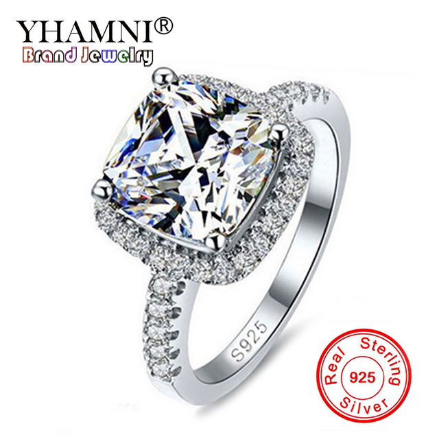 YHAMNI 100% Solid 925 Sterling Silver Ring 3 Carat CZ Diamant Wedding Rings Jewelry Gift For Women SIZE 5 6 7 8 9 10 YH002