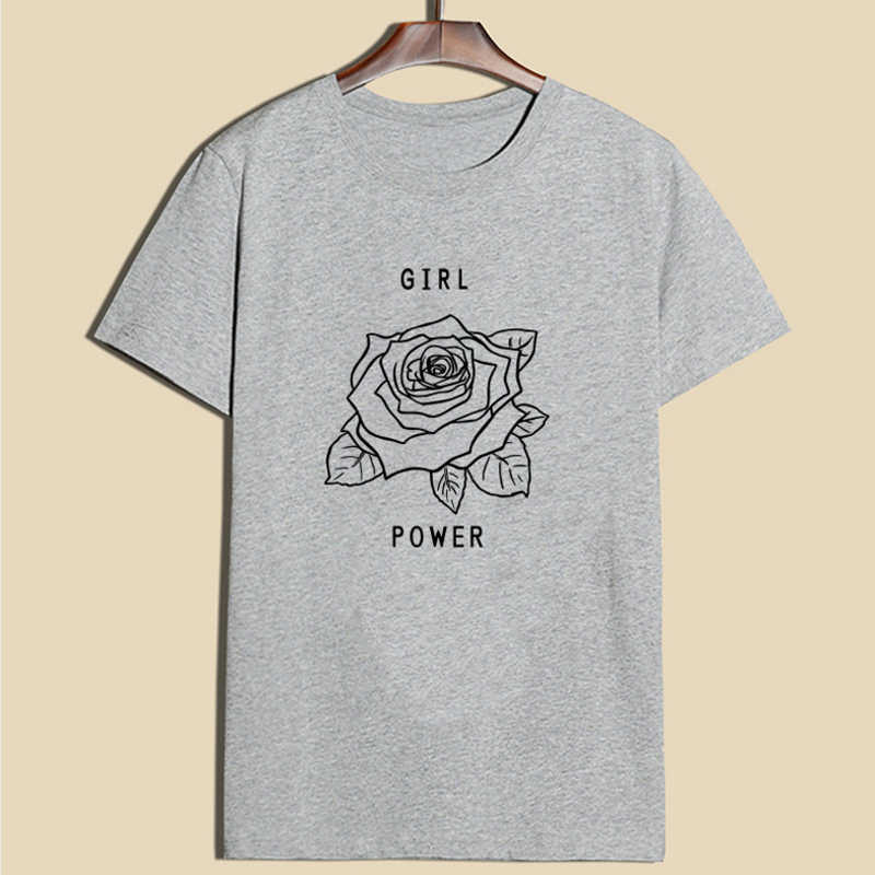 2019 Donne di Estate T-Shirt Rosa Girl Power stampa Tshirt Femminista Top Tee O Collo Manica Corta Withe Donne Più di Formato abbigliamento