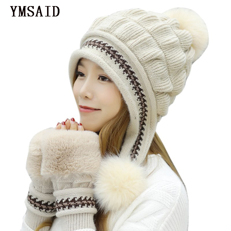 Ymsaid Girl Thicken Ski Cap New Brand Fur PomPoms Winter Sweet Knitted Hats Women Hat Female Warm Gloves + knit hat gorros femininos