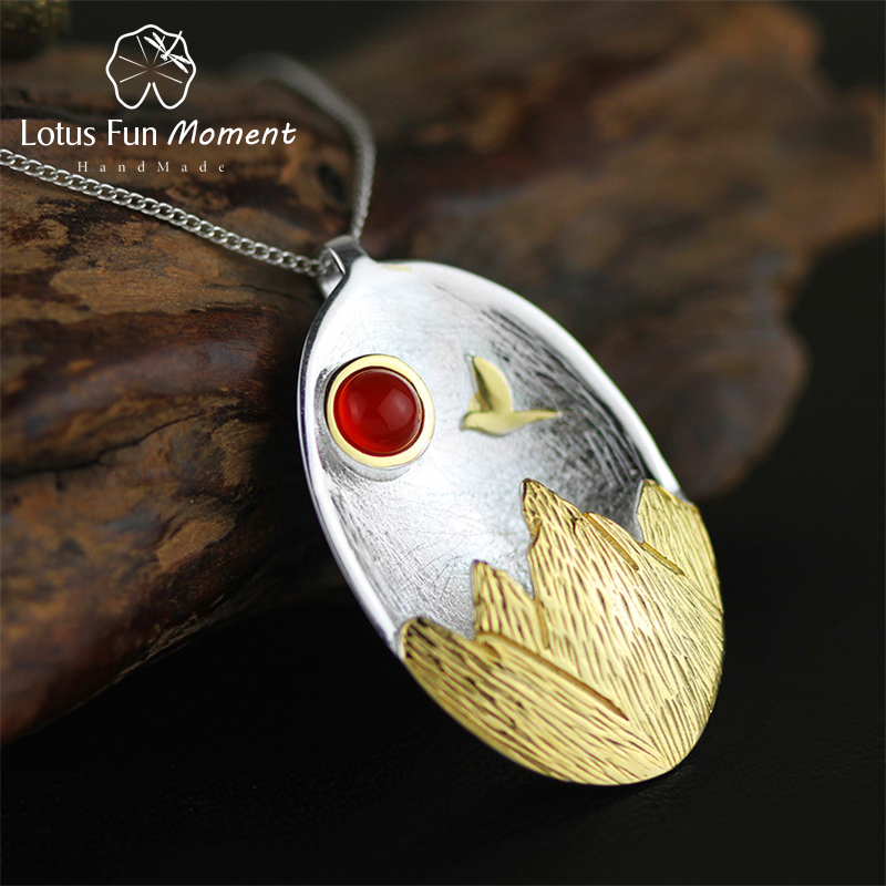 Lotus Fun Moment Real 925 Sterling Silver Natural Stone Handmade Fashion Jewelry