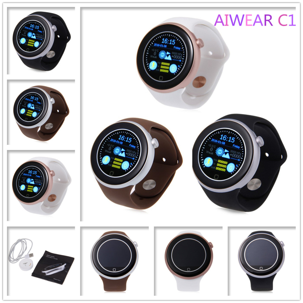Hot sale 2016 Original AIWEAR C1 Dual Bluetooth Active Heart Rate Track Smart Watch with Siri