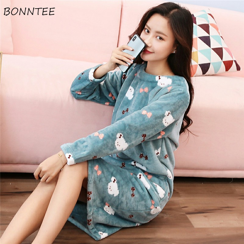 72aad2c457 Nightgowns Women Kawaii Thicken Flannel Cartoon Large Size Winter Plus  Velvet Womens Sleepwear Lovely Warm Soft