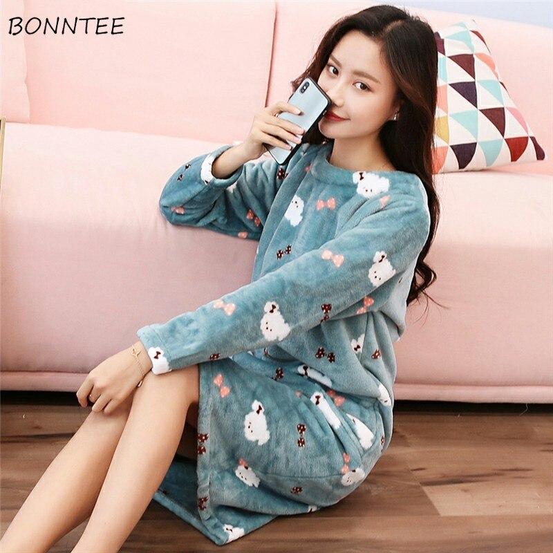 Detail Feedback Questions about Nightgowns Women Kawaii Thicken Flannel  Cartoon Large Size Winter Plus Velvet Womens Sleepwear Lovely Warm Soft  Nightdress ... 7c25273f6