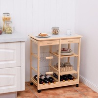Goplus Rolling Wood Kitchen Trolley Cart Island Shelf w/ Storage Drawers Baskets New HW58491NA